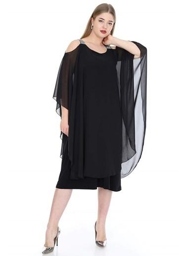 Angelino Butik Büyük Beden Omuzları Taşlı Askılı Şifon Elbise KL805 Siyah